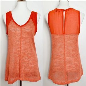 Sanctuary Orange Sleeveless Mixed Media Tank Top